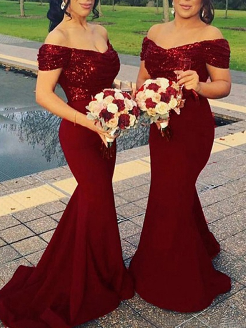 Ericdress Off-The-Shoulder Mermaid Sequins Bridesmaid Dress