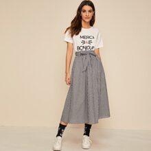 Slogan Graphic Top & Self Belted Gingham Skirt Set