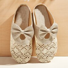 Bow Decor Hollow Out Flat Mules