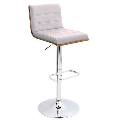 BS-JY-VSR WL+GY Vasari Height Adjustable Mid-century Modern Barstool with Swivel in Walnut and Grey Fabric