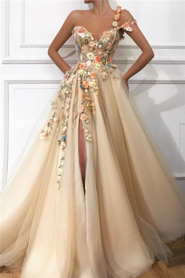 Stylish One Shoulder Strap Tulle Prom Dress   Sexy Sweetheart Front Slit Appliques Flowers Prom Dress