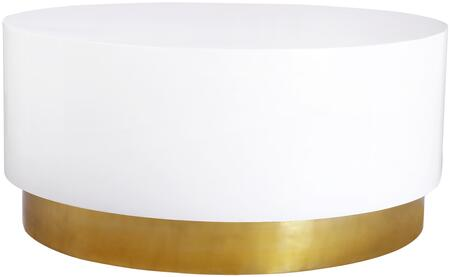Deco 215-C 36 x 36 Coffee Table with White Lacquer Top and Gold Metal
