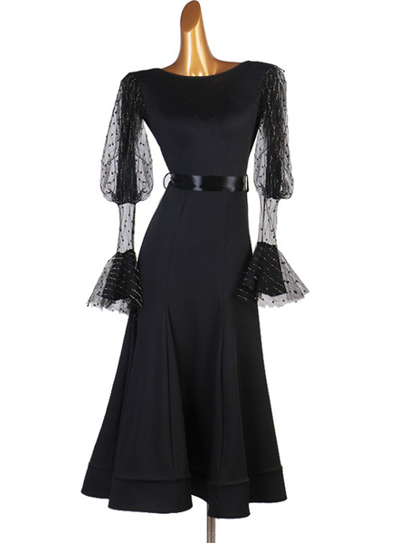 Milanoo Disfraz Halloween Trajes de baile de salon Vestido de tul negro Vestido de baile Halloween