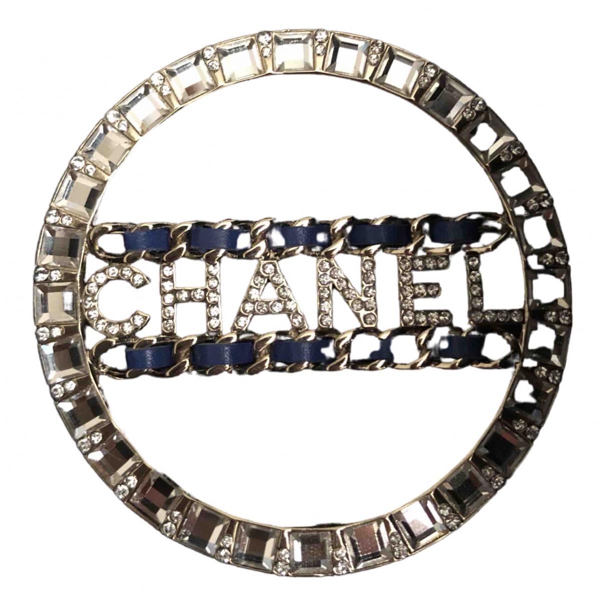 Chanel - Broche CC pour femme en cristal - argente