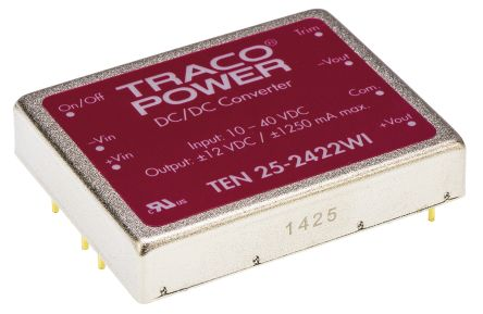 TRACOPOWER TEN 25WI 25 W, 30 W Isolated DC-DC Converter Through Hole, Voltage in 10 → 40 V dc, Voltage out ±12V