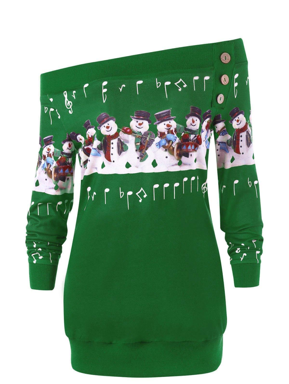 Christmas Plus Size Off The Shoulder Snowman Sweatshirt