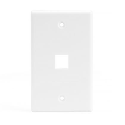 1 Port Keystone Wall Plate for RJ45 RJ11 RJ12 RCA F-Type Jack - White - PrimeCables® - 1/Pack