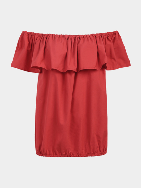 Yoins Red Fashion Red Off the Shoulder Blouse