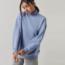 High Neck Drop Shoulder Solid Pullover