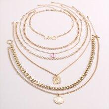 7 Stuecke Halskette mit Muenze Anhaenger
