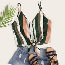 Button Front Knotted Striped Print Cami Top