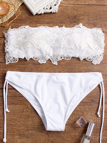 Yoins White Lace Insert Cut Out Bandeau Top and Tie-up Bottom Set