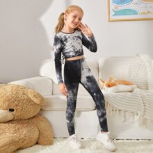 Girls Drawstring Side Tie Dye Crop Tee & Leggings Set