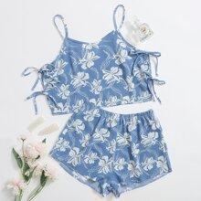 Floral Tie Side Cami PJ Set