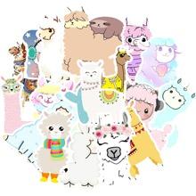 50 piezas pegatina con patron de alpaca