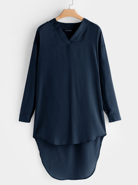 Yoins Fashion Navy V-neck Adjustable Length Long Sleeves Irregular Hem Blouse