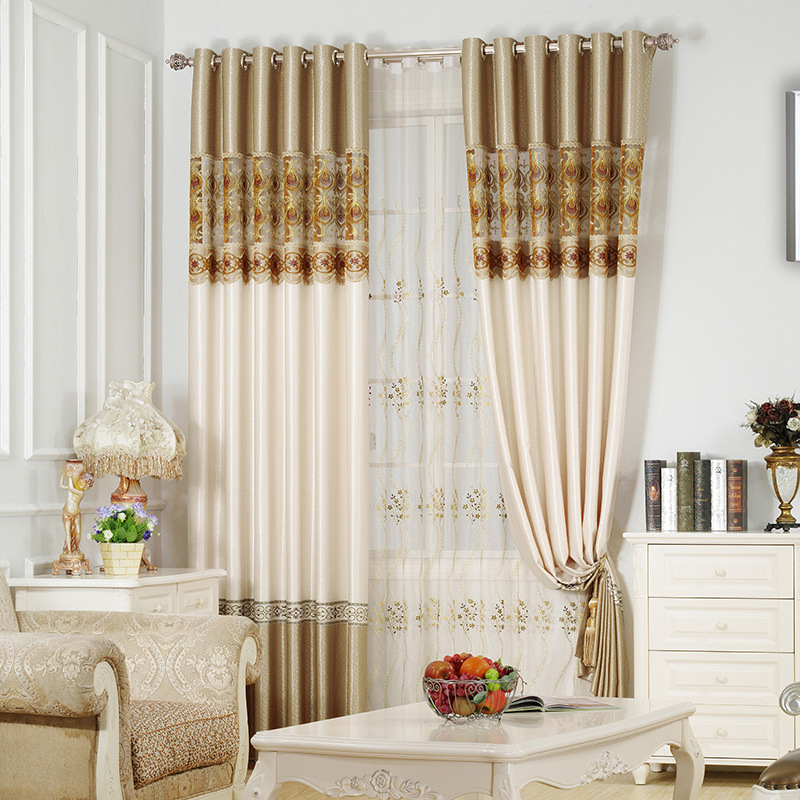 Gold Soft Room Darkening Curtains 2 Panel Set 84 Inches Wide and 84 Inches with Exquisite Jacquard Provides an Elegant Look Silky Soft Touch Ever Fadi