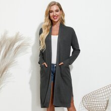 Kate Kasin Slit Hem Double Pocket Cardigan