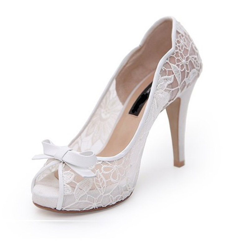 Ericdres Lace Peep Toe Platform Wedding Shoes