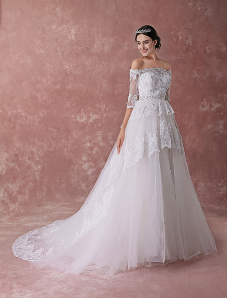 Milanoo Princess Ball Gown Wedding Dresses White Off Shoulder Bridal Dress Lace Half Sleeve Beaded Chapel Train Bridal Gowns