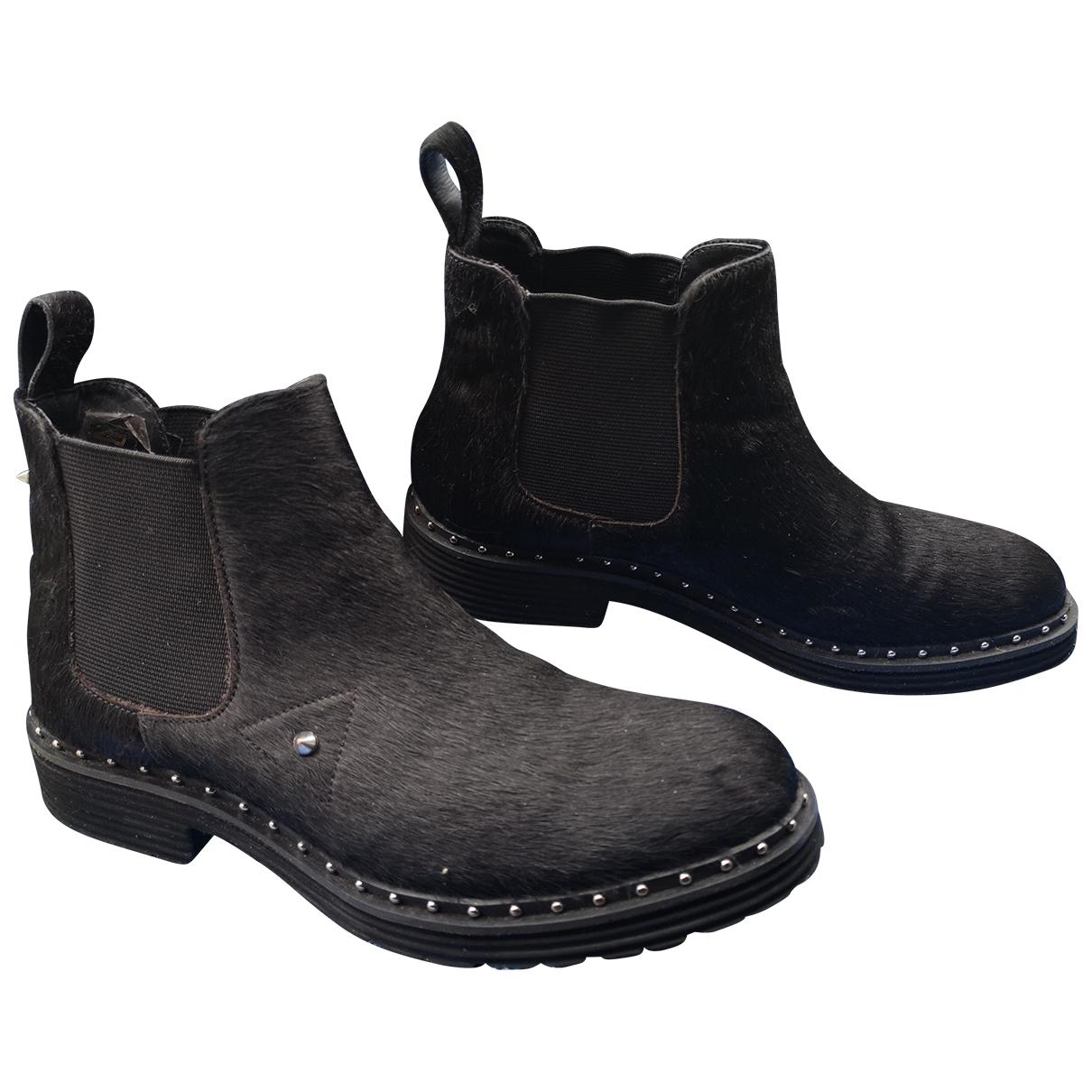 Melvin&hamilton - Boots   pour femme en fourrure - noir