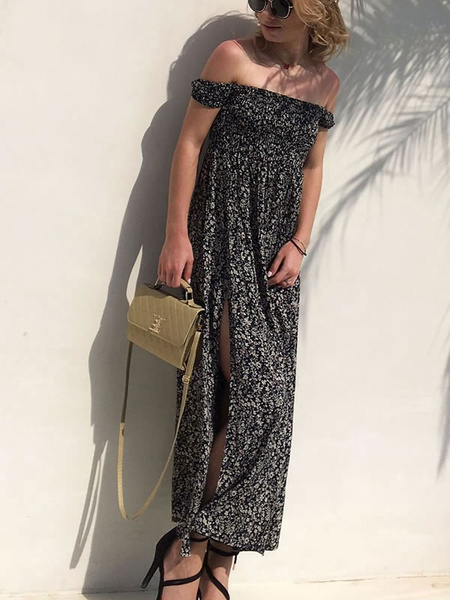 Milanoo Women Maxi Dress Off The Shoulder Printed Short Sleeve Split Bardot Dress