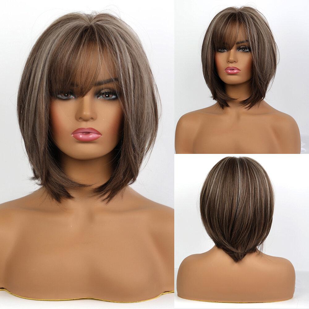 14 Inch Brown Mixed Color Neat Bangs Hair Wigs Cute Bobo Playful Wave Shawl Hair Wig