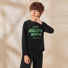 Boys Slogan Graphic Round Neck Tee