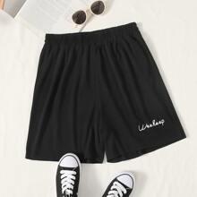 Shorts mit Buchstaben Grafik und elastischer Taille