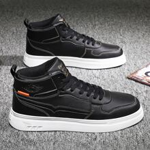 Men Letter Graphic High Top Sneakers