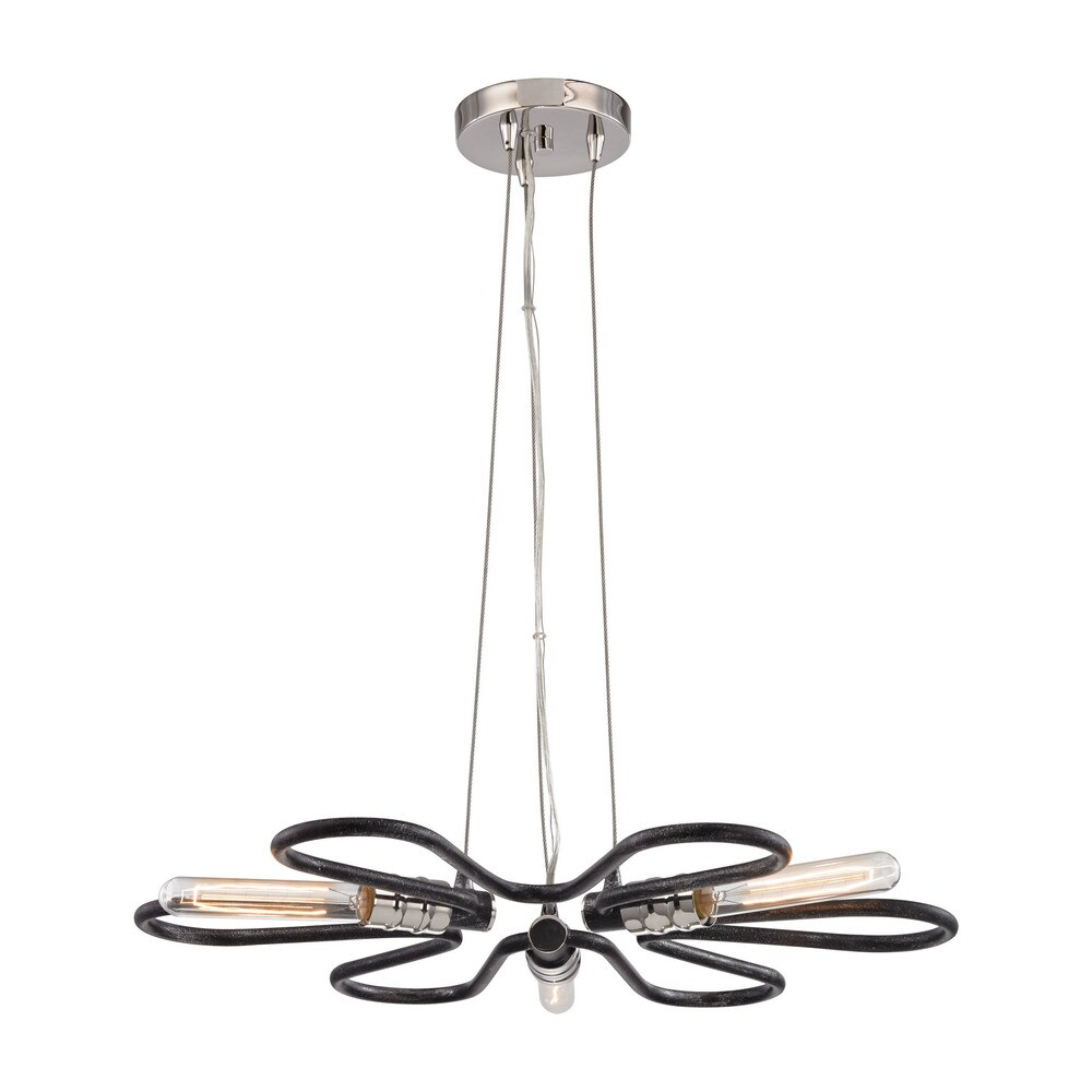 Elk Continuum 3-light LED Chandelier in Silvered Graphite with Polished Nickel Accents (Silvered Graphite, Polished Nickel)