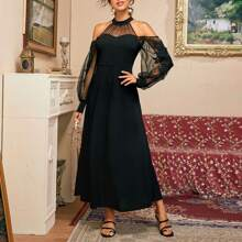 Cold Shoulder Sheer Mesh Yoke Appliques Detail Dress