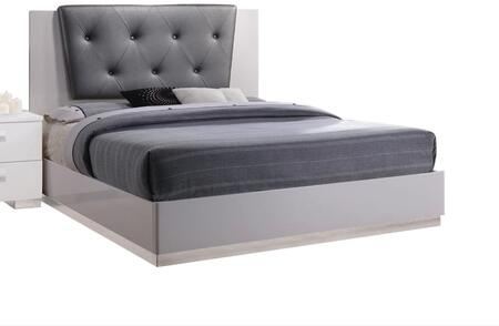 Lorimar II Collection 22620Q Queen Size Bed with Grey Bycast Leather Headboard  Low Profile Footboard  Chrome Base  High Gloss and Engineered Wood