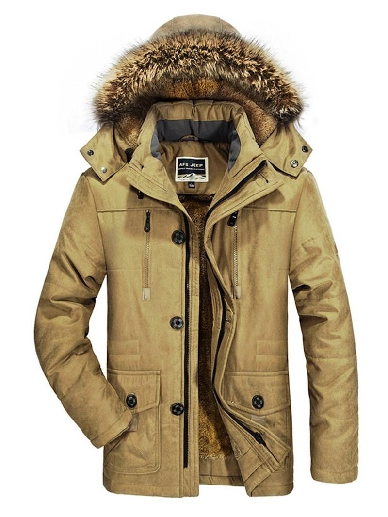 Ericdress Plain Mid-Length Zipper Style Men's Down Jacket