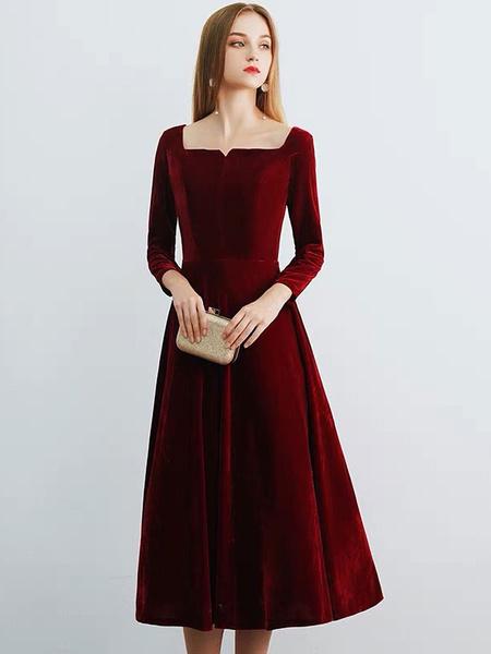 Milanoo Velvet Cocktail Dresses Square Neckline Tea Length Wedding Guest Dress