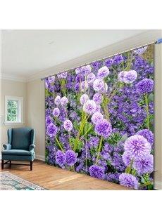 Romantic Purple Lavender 3D Printing Polyester Curtain