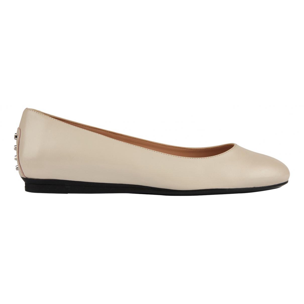 Tod's N Ecru Leather Flats for Women 4.5 UK