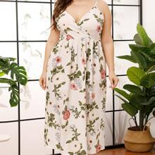 Cami Kleid mit Blumen Muster und V Ausschnitt vorn