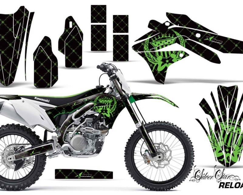 AMR Racing Dirt Bike Decal Graphic Kit Sticker Wrap For Kawasaki KXF450 2016-2018 RELOADED GREEN BLACK