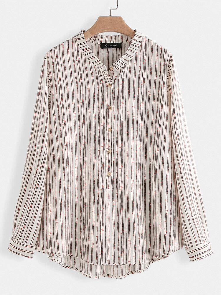 Asymmetrical Striped Long Sleeve Plus Size Shirt
