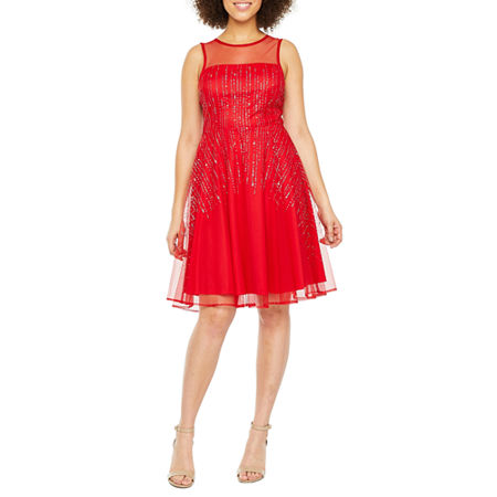 J Taylor Sleeveless Embellished Fit & Flare Dress, 12 , Red