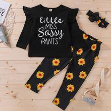 Outfits dos piezas para niña pequeña Volante Floral Casual