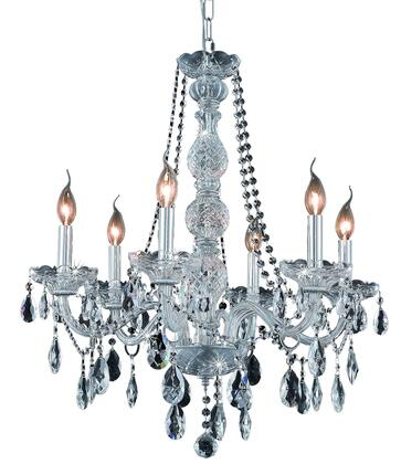 7956D24C/RC 7956 Verona Collection Hanging Fixture D24in H28in Lt: 6 Chrome Finish (Royal Cut