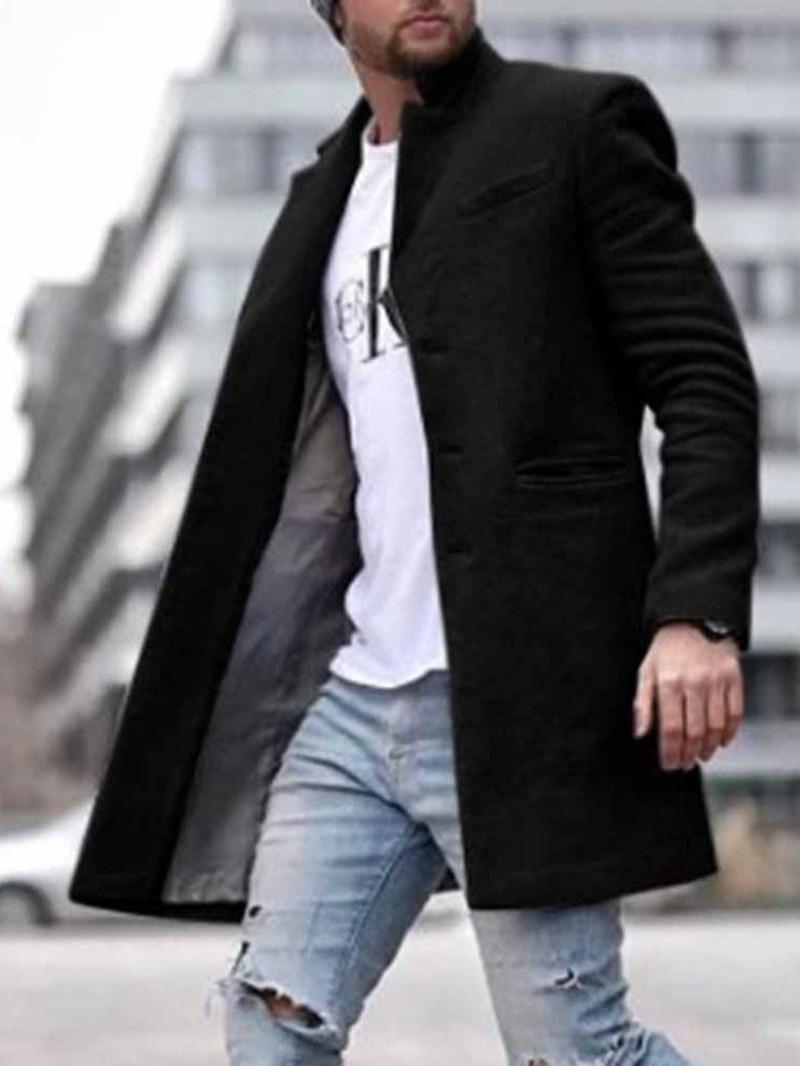 Ericdress Pocket Mid-Length Plain Straight Men's Coat