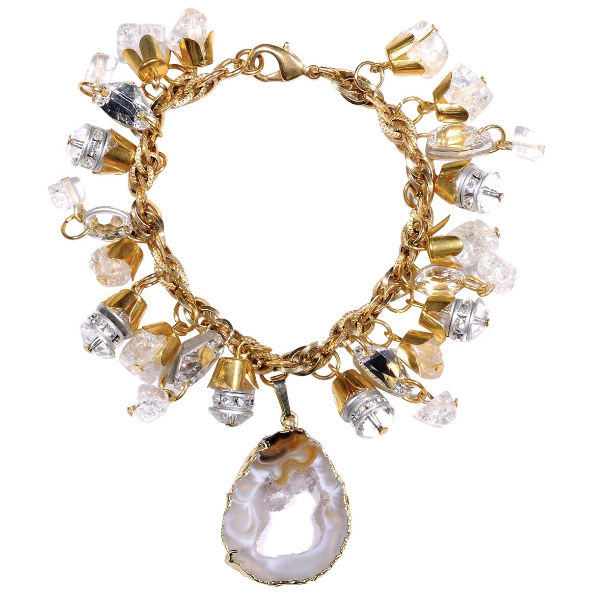 - Bracelet Agate pour femme en metal - dore