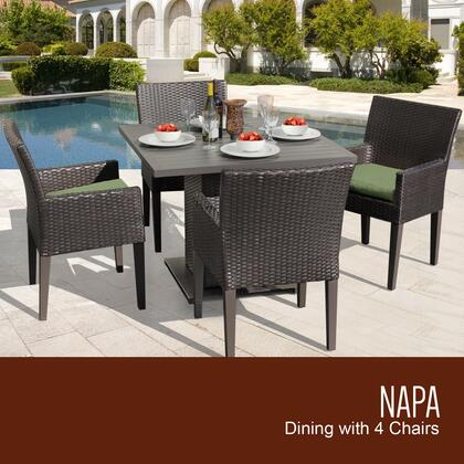 NAPA-SQUARE-KIT-4DCC-CILANTRO Napa Square Dining Table with 4 Chairs with 2 Covers: Wheat and