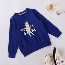 Girls Figure And Letter Graphic Sweatshirt