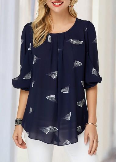 Navy Blue Blouson Sleeve Printed Blouse - XL