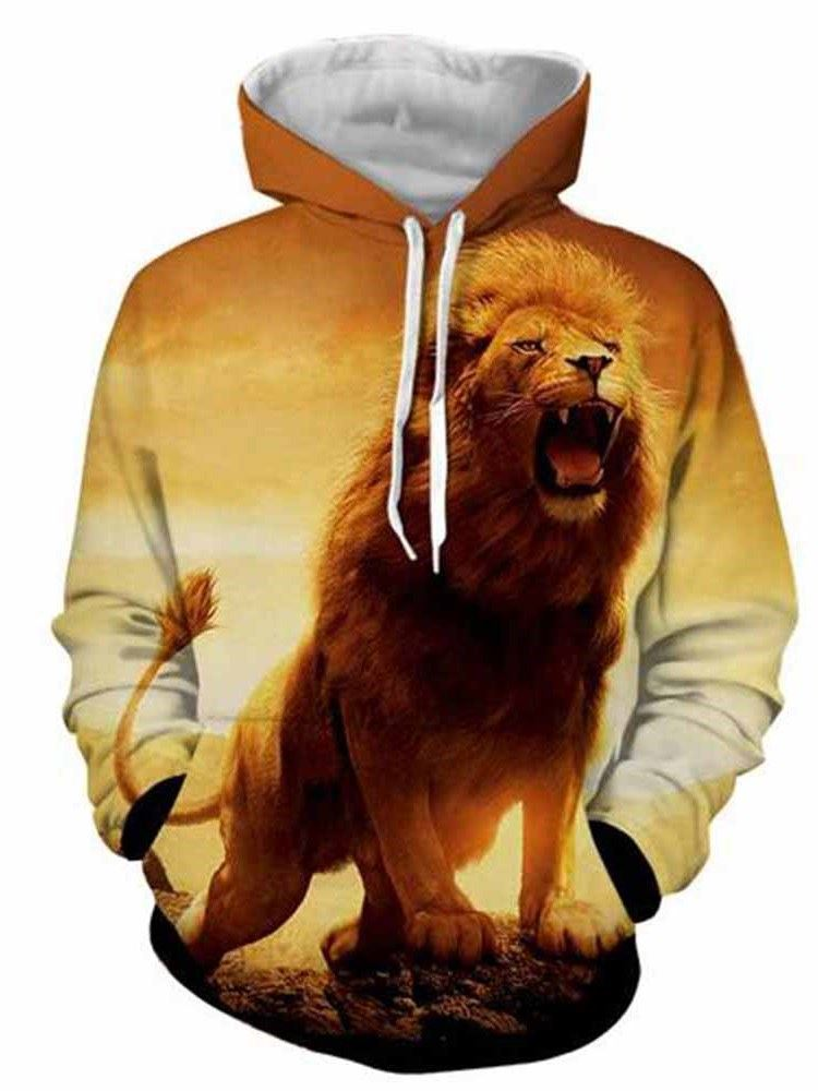 A Male Lion 3D Printed Pullover Print Pocket Spring Men's Hoodies