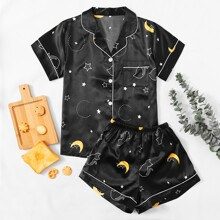 Satin Schlafanzug Set mit Mond & Stern Muster, Knopfen vorn und Kontrast Bindung
